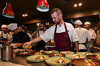 MELBOURNE, 30 June 2017 – Stuart Bell prepares his dish of Red Hill goats cheese, pickled mushrooms, pumpkin, freekeh & hazelnuts at a dinner celebrating Philippe Mouchel's 25 years in Australia with six chefs who worked with him in the past at Philippe Restaurant in Melbourne, Australia.