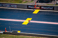 Jul 21, 2019; Morrison, CO, USA; General view of the 1320 foot quarter mile finish line and timing blocks at Bandimere Speedway during the NHRA Mile High Nationals. Mandatory Credit: Mark J. Rebilas-USA TODAY Sports