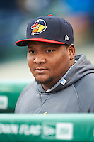 Toledo Mudhens pitcher Melvin Mercedes (44) before a game against the Rochester Red Wings on May 12, 2015 at Frontier Field in Rochester, New York.  Toledo defeated Rochester 8-0.  (Mike Janes/Four Seam Images)
