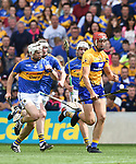 Peter Duggan of Clare in action against Brendan Maher of Tipperary during their quarter final at Pairc Ui Chaoimh. Photograph by John Kelly.