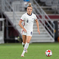 TOKYO, JAPAN - JULY 21: Kristie Mewis #6 of the United States on the ball during a game between Sweden and USWNT at Tokyo Stadium on July 21, 2021 in Tokyo, Japan.