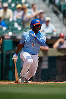 Buffalo Bisons Roemon Fields (4) at bat during an International League game against the Lehigh Valley IronPigs on June 9, 2019 at Sahlen Field in Buffalo, New York.  Lehigh Valley defeated Buffalo 7-6 in 11 innings.  (Mike Janes/Four Seam Images)