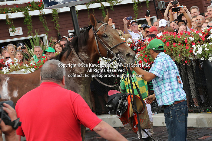 August 29 2015: Keen Ice with Javier Castellano scores an upset to win the $1,600,000 Travers Stakes for 3-year olds 1 1/4 mile at Saratoga Racetrack.  Trainer Dale Romans. Owner Donegal Racing. Sue Kawczynski/ESW/CSM