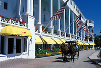Grand Hotel, carriage tours, Mackinac Island, MI, Lake Huron, Michigan, Carriage ride in front of the Historic Grand Hotel on Mackinac Island.