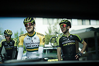 race preparations: Team mitchelton-Scott about to roll out to check the TT prologue course ahead of the 102nd Giro d'Italia 2019<br /> <br /> ©kramon