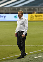KANSAS CITY, KS - SEPTEMBER 13: Minnesota United FC head coach Adrian Heath instructs his players during the second half during a game between Minnesota United FC and Sporting Kansas City at Children's Mercy Park on September 13, 2020 in Kansas City, Kansas.