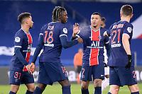 9th January 2021, Paris, France; French League 1 football, St. Germain versus Stade Brest;  BIOTY MOISE KEAN PSG celebrates his goal