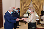 Palestinian President Mahmoud Abbas, receives the Credentials of the Ambassador of Finland to the State of Palestine, in the West Bank city of Ramallah, on March 9, 2021. Photo by Thaer Ganaim