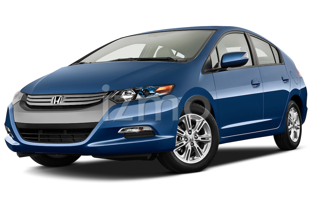 Low aggressive front three quarter view of a 2010 Honda Insight EXL.