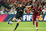 Leicester City FC defender Harry Maguire (L) in action during the Premier League Asia Trophy match between Liverpool FC and Leicester City FC at Hong Kong Stadium on 22 July 2017, in Hong Kong, China. Photo by Weixiang Lim / Power Sport Images