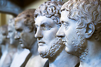 Beautiful, lifelike marble statues close-up perceptive, in the Hall of Busts of Pio-Clementine Museum in Vatican, Rome Italy, Southern Europe