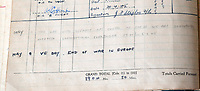 """BNPS.co.uk (01202) 558833<br /> Pic:  ZacharyCulpin/BNPS<br /> <br /> """"May 8th VE DAY END OF THE WAR IN EUROPE""""<br /> <br /> The fascinating logbooks of a hero Spitfire pilot who escorted Winston Churchill over the Rhine have been discovered during a house clearance.<br /> <br /> Flight Officer Joseph Staples, of 74 Squadron, 145 Wing, racked up hundreds of missions during World War Two.<br /> <br /> In early 1945, he flew alongside Allied bombers on German raids to protect them from the constant Luftwaffe threat.<br /> <br /> His dangerous sorties were all recorded in his meticulously-kept logbooks alongside very matter-of-fact descriptions of them."""