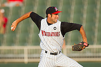 Relief pitcher Ryan Kussmaul #38 of the Kannapolis Intimidators in action against the Hagerstown Suns at Fieldcrest Cannon Stadium August 8, 2010, in Kannapolis, North Carolina.  Photo by Brian Westerholt / Four Seam Images