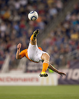 Houston Dynamo defender Andrew Hainault (31) bicycle kick. The New England Revolution defeated Houston Dynamo, 1-0, at Gillette Stadium on August 14, 2010.