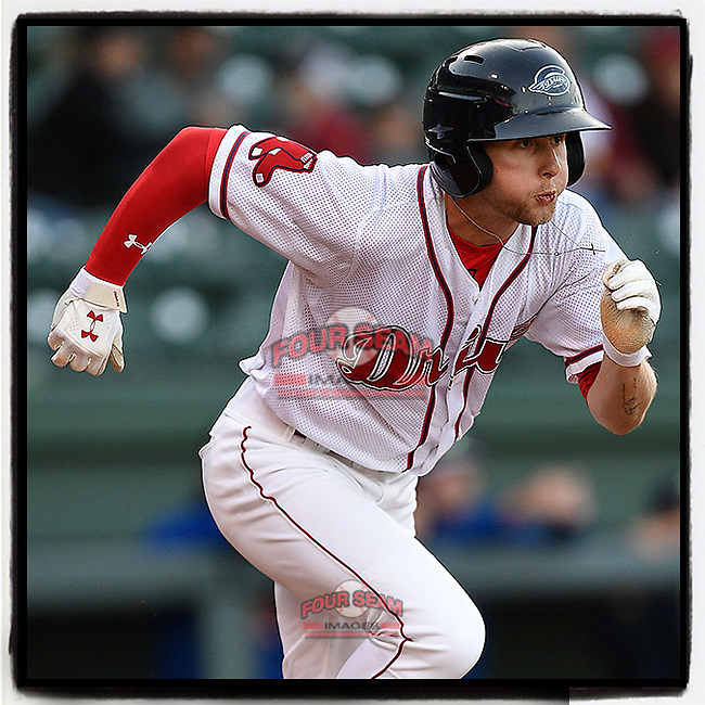 Center fielder Cole Brannen (5) of the Greenville Drive runs out a batted ball in a game against the Columbia Fireflies on Tuesday, April 17, 2018, at Fluor Field at the West End in Greenville, South Carolina. (Tom Priddy/Four Seam Images)