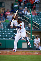 Minnesota Twins designated hitter Miguel Sano (44), on rehab assignment with the Rochester Red Wings, at bat during a game against the Pawtucket Red Sox on May 19, 2018 at Frontier Field in Rochester, New York.  Rochester defeated Pawtucket 2-1.  (Mike Janes/Four Seam Images)