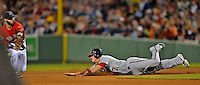 8 June 2012: Washington Nationals outfielder Tyler Moore steals second in the 6th inning against the Boston Red Sox at Fenway Park in Boston, MA. The Nationals defeated the Red Sox 7-4 in the opening game of their 3-game series. Mandatory Credit: Ed Wolfstein Photo