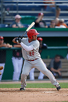 Auburn Doubledays Wilmer Perez (20) at bat during a NY-Penn League game against the Batavia Muckdogs on June 19, 2019 at Dwyer Stadium in Batavia, New York.  Batavia defeated Auburn 5-4 in eleven innings in the completion of a game originally started on June 15th that was postponed due to inclement weather.  (Mike Janes/Four Seam Images)