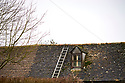 Ladder on roof near window on house in a Cotswold Village  CREDIT Geraint Lewis