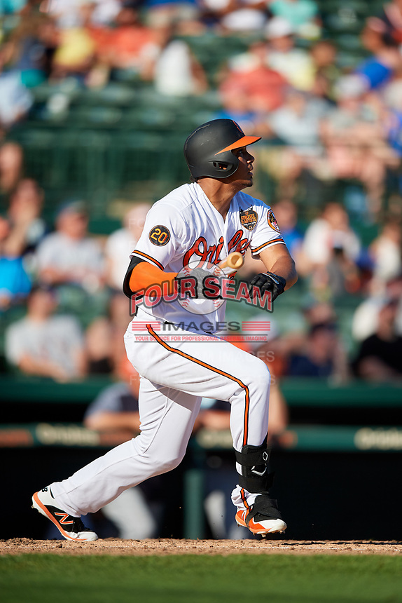 Baltimore Orioles designated hitter Anthony Santander (25) hits a home run during a Grapefruit League Spring Training game against the Detroit Tigers on March 3, 2019 at Ed Smith Stadium in Sarasota, Florida.  Baltimore defeated Detroit 7-5.  (Mike Janes/Four Seam Images)