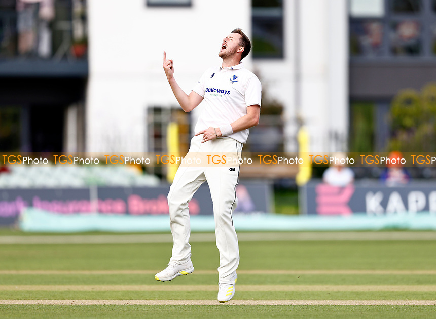 Ollie Robinson of Sussex celebrates taking the wicket of Joe Gordon during Kent CCC vs Sussex CCC, LV Insurance County Championship Group 3 Cricket at The Spitfire Ground on 11th July 2021