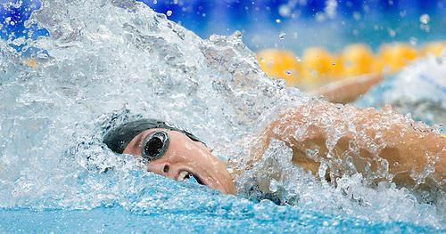14 AUG 2008 - BEIJING, CHN - Natalie Coughlin (USA) - 4x200m Freestyle Relay progress  -  Beijing Olympics. (PHOTO (C) NIGEL FARROW) *** IOC RULES APPLY ON USAGE ***