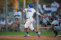 South Dakota State Jackrabbits second baseman Braeden Brown (32) bats during a game against the Northeastern Huskies on February 23, 2019 at North Charlotte Regional Park in Port Charlotte, Florida.  Northeastern defeated South Dakota State 12-9.  (Mike Janes/Four Seam Images)
