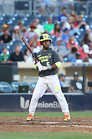 Jaren Shelby (6) of the West team bats during the 2015 Perfect Game All-American Classic at Petco Park on August 16, 2015 in San Diego, California. The East squad defeated the West, 3-1. (Larry Goren/Four Seam Images)