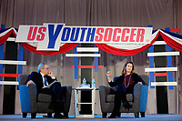 Philadelphia, PA - Saturday January 20, 2018: JP Dellacamera, Kathy Carter during the U.S. Soccer Federation Presidential Election Candidates Forum hosted by US Youth Soccer at the Philadelphia Marriott Downtown Grand Ballroom.