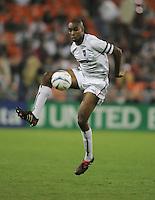 30 October,  2004.  MetroStars defender Eddie Pope (23) takes control of the ball during the 2004 MLS playoffs at RFK Stadium in Washington, DC.