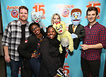 "Nick Kohn, Jamie Glickman and Matt Dengler with Avenue Q & Puppetry Fans during ""Avenue Q"" Celebrates World Puppetry Day at The New World Stages on 3/21/2019 in New York City."