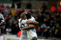 Saturday 8th February 2014<br /> Pictured: Nathan Dyer Celebrates with team mates after scoring his second half goal<br /> Re: Barclays Premier League Swansea City FC  v Cardiff City FC at the Liberty Stadium, Swansea