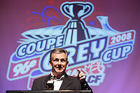 Larry Smith, President and CEO Montreal's  Alouette Footbal team annnounce  that the CFL championship games will be held in Montreal in 2008.Photo by Pierre Roussel / Images Distribution