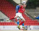 St Johnstone v York City...19.07.14  <br /> Tam Scobbie heads from Ryan Jarvis<br /> Picture by Graeme Hart.<br /> Copyright Perthshire Picture Agency<br /> Tel: 01738 623350  Mobile: 07990 594431