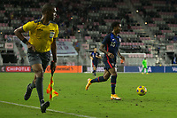 FORT LAUDERDALE, FL - DECEMBER 09: Kyle Duncan #16 of the United States moves with the ball during a game between El Salvador and USMNT at Inter Miami CF Stadium on December 09, 2020 in Fort Lauderdale, Florida.