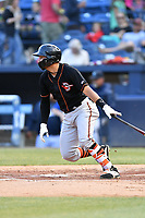 Delmarva Shorebirds catcher Daniel Fajardo (14) swings at a pitch during a game against the Asheville Tourists at McCormick Field on May 3, 2019 in Asheville, North Carolina. The Shorebirds defeated the Tourists 6-5. (Tony Farlow/Four Seam Images)