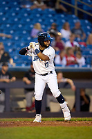 Lake County Captains Aaron Bracho (17) bats during a game against the Great Lakes Loons on August 28, 2021 at Classic Park in Eastlake, Ohio.  (Mike Janes/Four Seam Images)