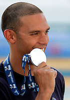 France's Hugues Duboscq celebrates after winning the silver medal during the men's 100 meters breastroke event at the Swimming World Championships in Rome, 27 July 2009..UPDATE IMAGES PRESS/Riccardo De Luca
