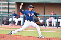 Elizabethton Twins starting pitcher Luis Rijo (15) delivers a pitch during a game against the Kingsport Mets at Joe O'Brien Field on August 7, 2018 in Elizabethton, Tennessee. The Twins defeated the Mets 16-10. (Tony Farlow/Four Seam Images)