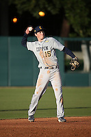 Erik Crossman #15 of the Coppin State Eagles throws to first base during a game against the Southern California Trojans at Dedeaux Field on February 18, 2017 in Los Angeles, California. Southern California defeated Coppin State, 22-2. (Larry Goren/Four Seam Images)