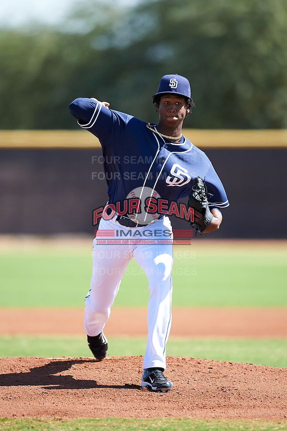 San Diego Padres pitcher Henry Henry (28) during an Instructional League game against the Texas Rangers on October 3, 2016 at the Peoria Sports Complex in Peoria, Arizona.  (Mike Janes/Four Seam Images)