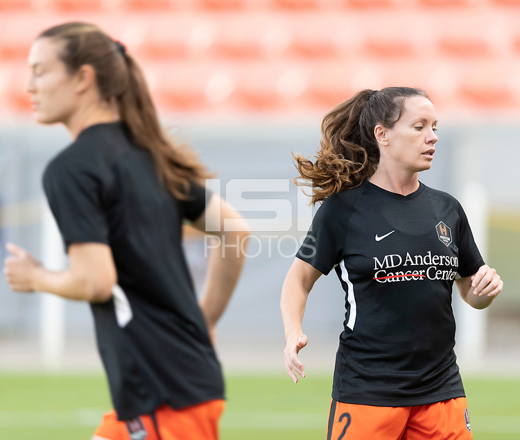HOUSTON, TX - SEPTEMBER 10: Allysha Chapman #2 of the Houston Dash warming up before a game between Chicago Red Stars and Houston Dash at BBVA Stadium on September 10, 2021 in Houston, Texas.