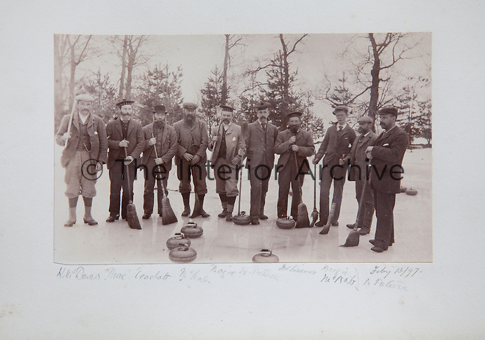 An 1897 curling match with a fine array of beards, moustaches, and bonnets