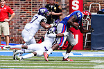 Southern Methodist Mustangs wide receiver Jeremiah Gaines (84), TCU Horned Frogs cornerback Ranthony Texada (11) and TCU Horned Frogs safety Sam Carter (17) in action during the game between the TCU Horned Frogs and the SMU Mustangs at the Gerald J. Ford Stadium in Fort Worth, Texas.  TCU leads SMU 28 to 0 at half.
