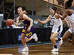 SIOUX FALLS, SD - MARCH 7: Danni Nichols #4 of the Western Illinois Leathernecks drives past Mandy Willems #21 of the UMKC Kangaroos during the Summit League Basketball Tournament at the Sanford Pentagon in Sioux Falls, SD. (Photo by Richard Carlson/Inertia)
