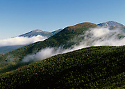 View from along the Appalachian Trail (Crawford Path), near Mount Pierce, in the Presidential Range of the New Hampshire White Mountains. Mount Eisenhower is in foreground, and Mount Washington is on the right.