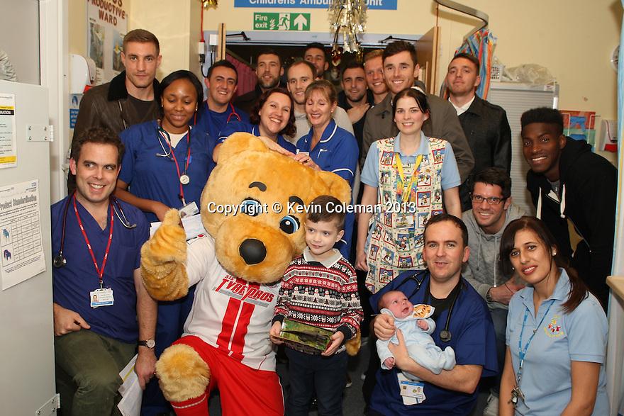 Stevenage FC players visit Lister Hospital Children's ward.  <br />  - Lister Hospital, Stevenage - 18th December, 2013<br />  © Kevin Coleman 2013