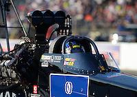May 18, 2012; Topeka, KS, USA: NHRA top fuel dragster driver David Grubnic during qualifying for the Summer Nationals at Heartland Park Topeka. Mandatory Credit: Mark J. Rebilas-