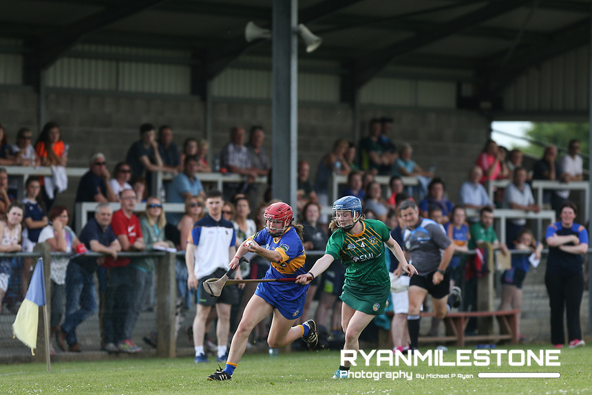 Tipperary's Eibhlis McDonnell of Tipperary in action against Emma McGill of Meath during the Liberty Insurance All Ireland Senior Camogie Championship Round 1 between Tipperary and Meath at the Ragg, Co Tipperary. Photo By Michael P Ryan.