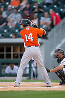 Nolan Reimold (14) of the Norfolk Tides at bat against the Charlotte Knights at BB&T BallPark on April 9, 2015 in Charlotte, North Carolina.  The Knights defeated the Tides 6-3.   (Brian Westerholt/Four Seam Images)